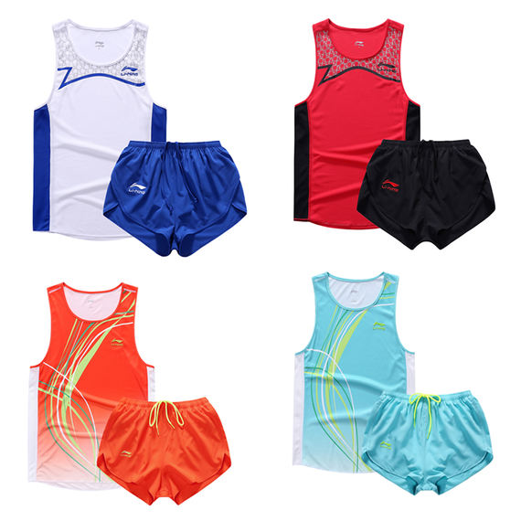 Li Ning track suits men and women sports suits running clothes track and field vest shorts training competition track suits