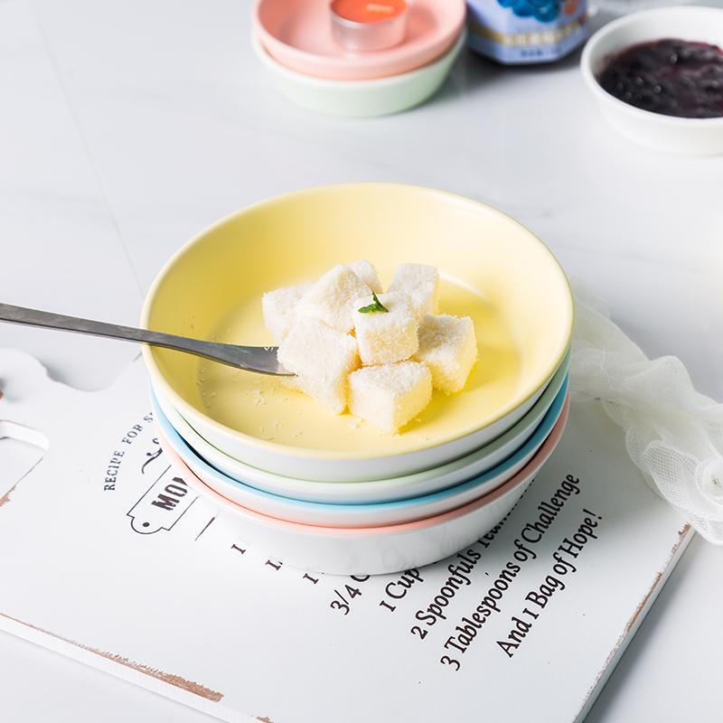 亿嘉 调味碟陶瓷小碟子家用可爱小吃碟圆形味碟沙拉碗点心碗曲韵