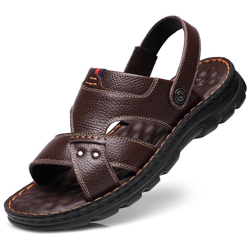 凉鞋男士夏季真皮软底沙滩鞋男潮流2019新款中老年爸爸休闲凉拖鞋