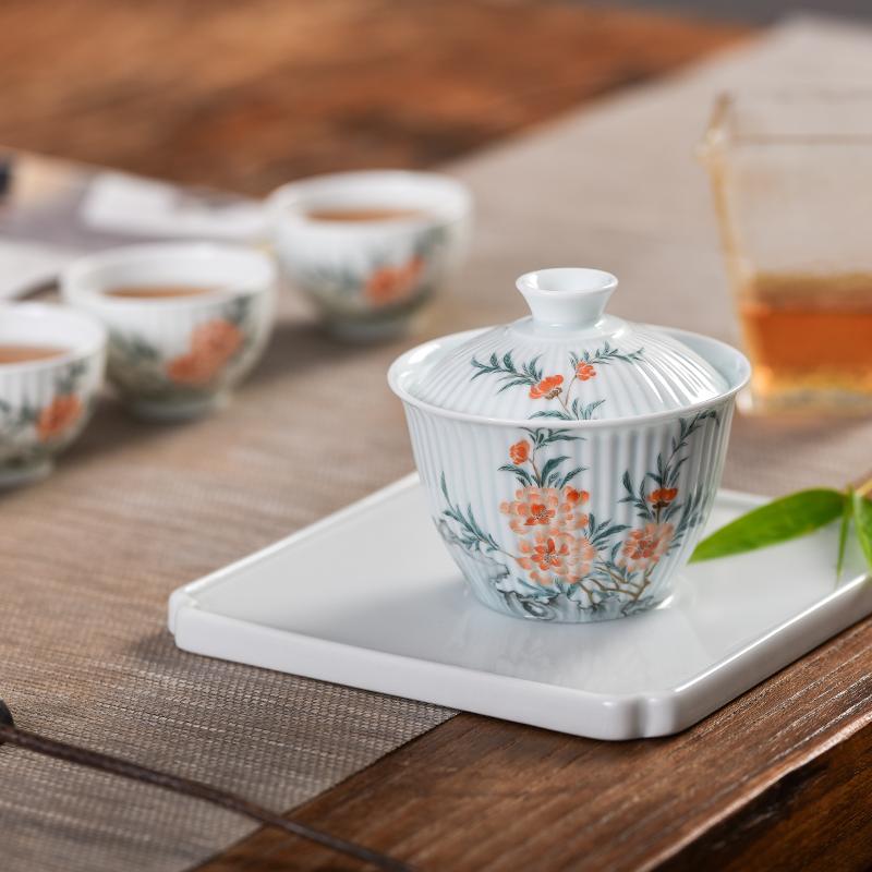 手绘桃花太湖石影青雕刻盖碗泡茶碗茶具套装恽寿平花卉复古小茶杯