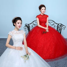 Sen wedding 2018 new word shoulder red wedding dress slim slim wedding dress Chinese style large size wedding dress