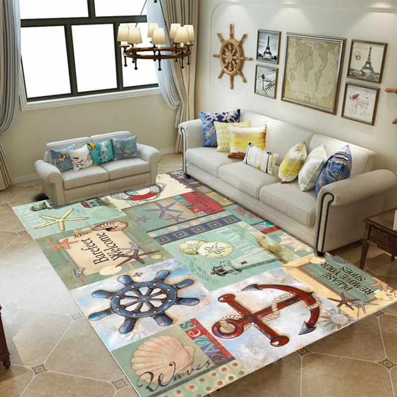 北欧风格地中海文艺复古地毯卧室客厅大尺寸地毯定做茶几毯可机洗图片