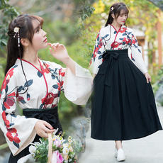 Spring and Autumn New Style Ancient Chinese Elements Improved Printed Hanfu Crossover Top + Half Skirt Retro Set