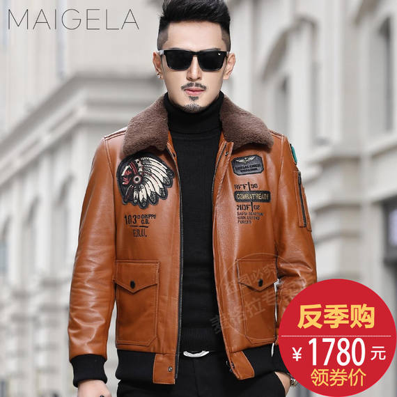 2018 new first layer calf leather jacket men's leather leather American flying suit short trend motorcycle jacket