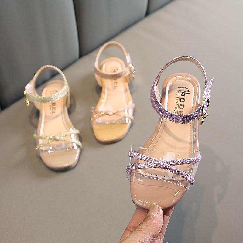 百搭女孩公主鞋亮片凉鞋女童小高跟鞋2019中大童时尚夏季韩版新。