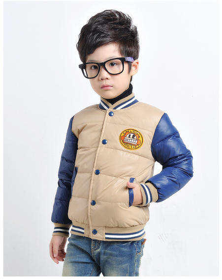 2016 new brand new boy down jacket autumn and winter stitching color children's down jacket explosion children's clothing
