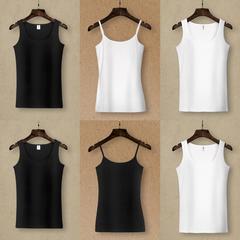 吊带背心女纯棉圆领白色修身百搭外穿黑色打底衫短款内搭大码上衣