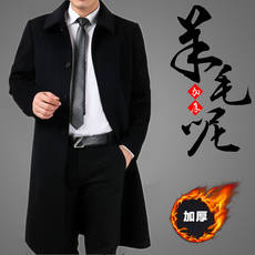 Winter middle-aged business men's cashmere coat long father loaded thick wool woolen yards windbreaker jacket