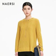 娜尔思女装长袖针织衫2018冬季新款时尚修身显瘦宽松黄色羊毛衫女