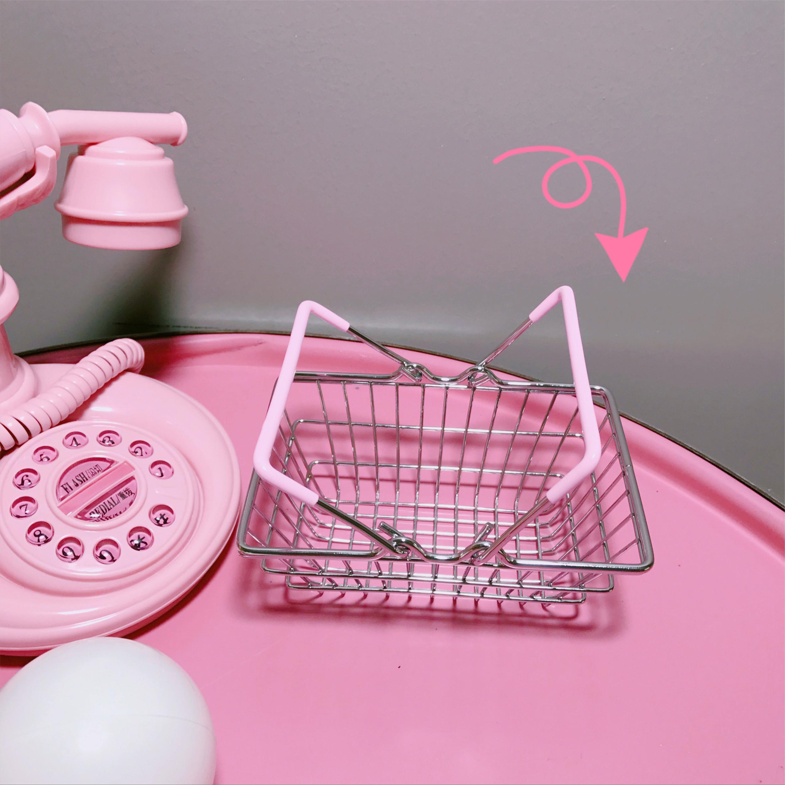 韩国网红同款少女心粉色铁艺迷你购物篮金属桌面收纳篮摆拍道具