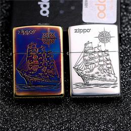 正品zippo芝宝防风打火机日版原装熏铜镀银雕刻 一帆风顺帆船罗盘