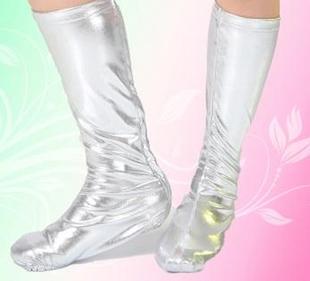 六一儿童舞蹈鞋套幼儿演出脚套长筒表演鞋套成人鞋套银色鞋套