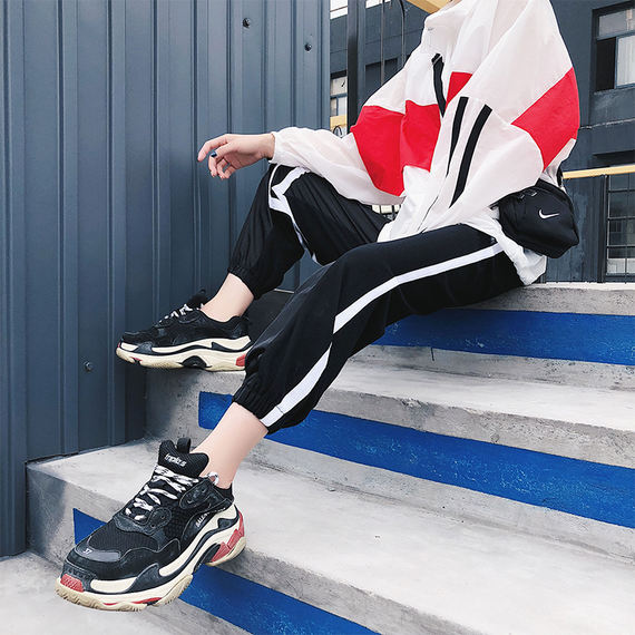 2018 new Korean version of the trend of wild loose high waist side two bars sports leisure Harlan beam feet trousers summer