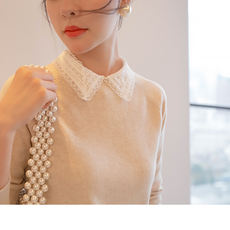 Exquisite beauty.... The delicate and beautiful JI of the collar is made. Lapel wool cashmere sweater