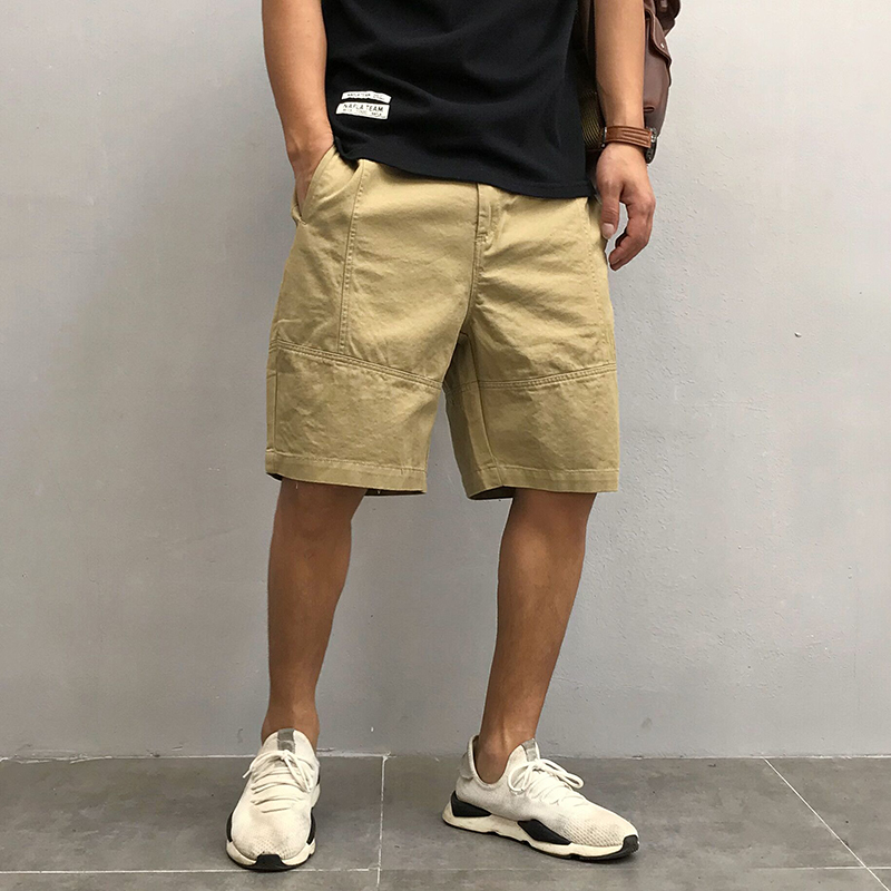 原创日系男装夏季新款纯色宽松直筒工装休闲裤短裤青年潮流五分裤