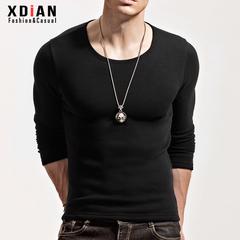 男士加绒打底衫长袖T恤冬季加厚保暖内衣青年紧身上衣可内穿单件