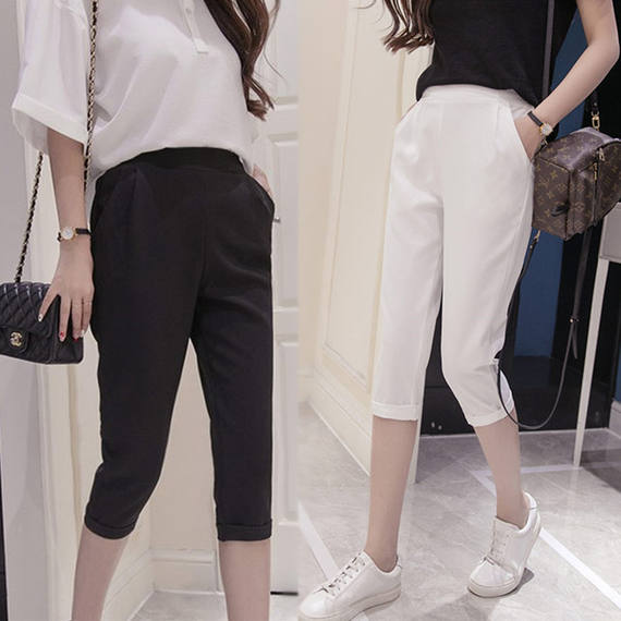 Casual cropped trousers female 2018 summer new Korean version of professional self-cultivation trousers OL commuter high waist harem pants pants