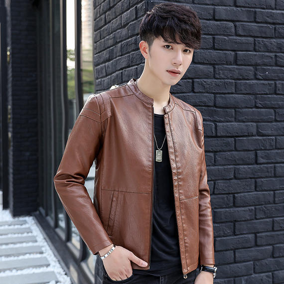 2018 autumn fashion men's leather thin section casual jacket stand collar Korean version of the self-cultivation locomotive pu leather jacket men's clothing