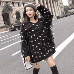 亮片针织衫潮秋季2018韩版新款小清新流苏套头中长款毛衣外套女装