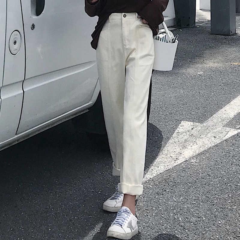韩版女装学生裤子2018秋装新款韩版休闲裤宽松百搭卷边牛仔裤潮