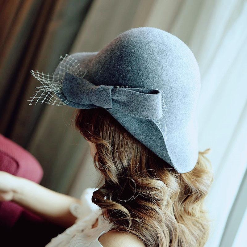 蝴蝶鹊起秋冬新品蝴蝶结网纱羊毛呢礼帽女士百搭修饰脸型显小帽子