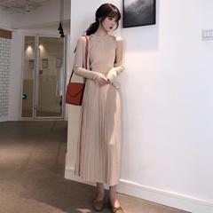 秋季新款气质挂脖小背心高腰半身裙两件套宽松针织开衫时尚套装女