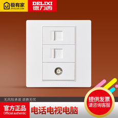 Delixi Type 86 weak electricity telephone TV computer socket Wired closed circuit network cable information combination panel