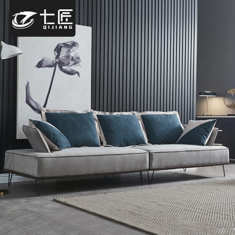 北欧意式极简布艺沙发123组合大小户型整装磨砂皮简约客厅皮沙发