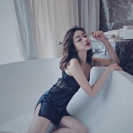 性感蕾丝吊带睡衣女夏 镂空美背修身显瘦家居服纯色 T裤薄款睡裙