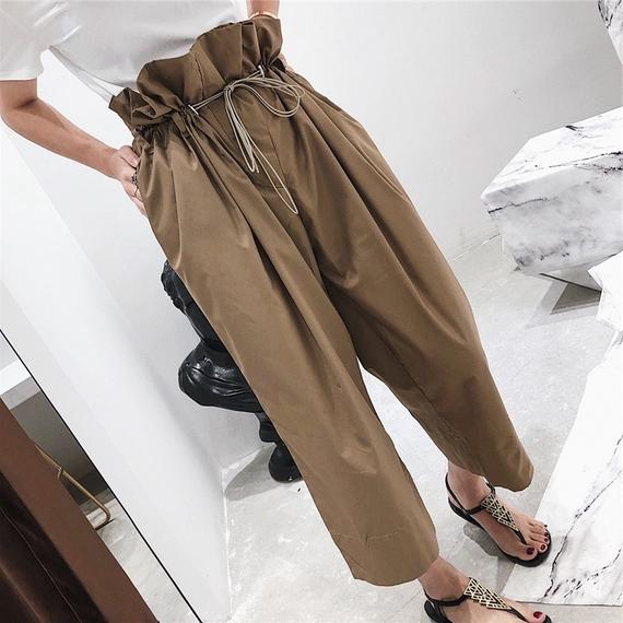 Drawstring flower pants women's high waist nine pants 2018 new slim straight harem pants loose wild summer