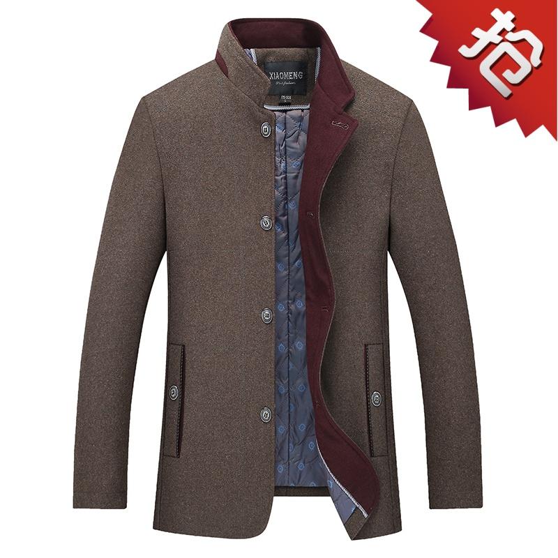 秋冬新款中年男士羊毛毛呢大衣商务休闲立领中老年夹克外套爸爸装