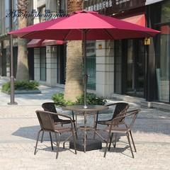天台花园户外桌椅带伞简约奶茶店休闲家具高脚茶桌长遮阳伞简易