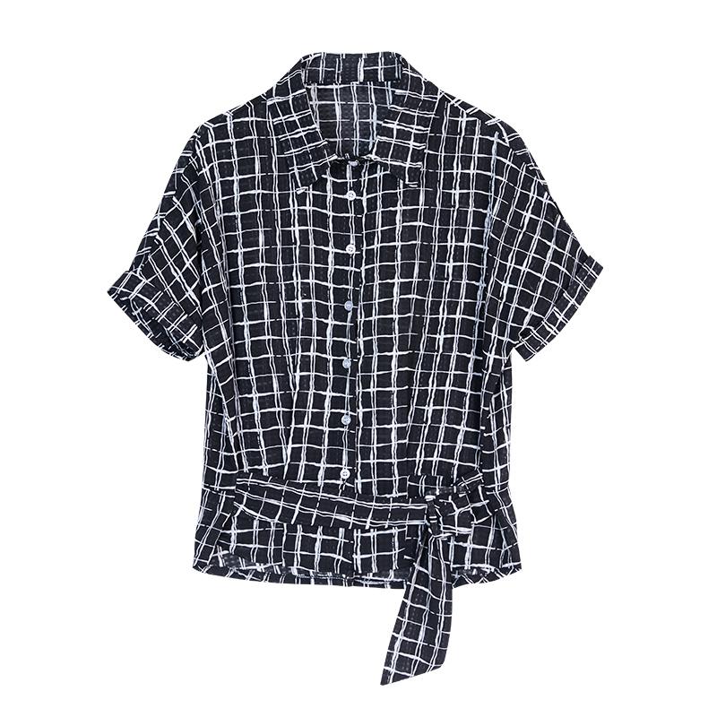 OUBOGJ格子雪纺衫女收腰短袖夏季女装2019新款韩版显瘦衬衫蝙蝠袖