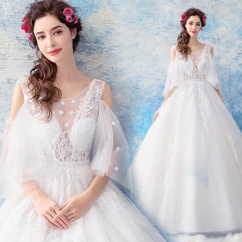 天使嫁衣 仙气性感 时髦露肩 朦胧雪纱 公主气质新娘婚纱礼服8171