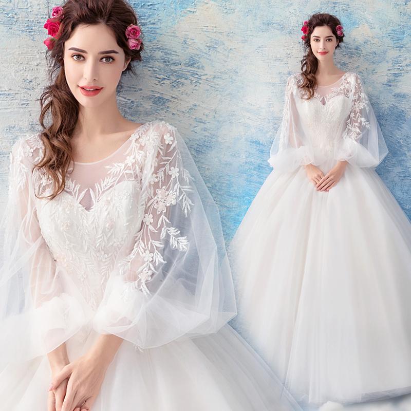 天使嫁衣 摩登新潮 朦胧仙气灯笼袖 公主新娘长袖婚纱礼服1681