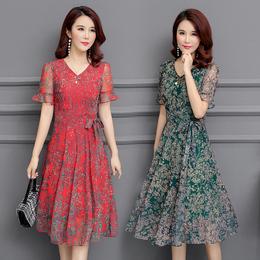 大码30-40-50岁夏季新款中年妇女妈妈装中长款短袖碎花雪纺连衣裙