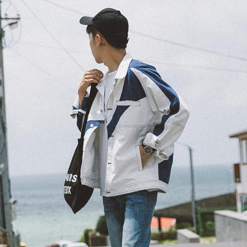 欧美风复古拼接水洗牛仔衣春秋装韩版青少年休闲夹克衫潮流外套男