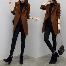 Autumn and winter small woolen coat female long section Korean version 2018 new ladies thickened Hepburn woolen coat