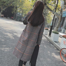 Anti-season clearance winter retro thousand bird plaid woolen coat female long section Korean version 2018 new woolen coat