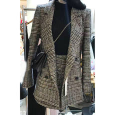Anti-season clearance 2018 autumn new fashion slim temperament houndstooth suit jacket take skirt suit women