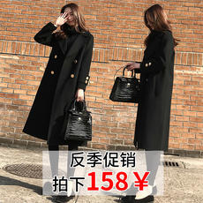 Anti-season clearance 2018 autumn and winter new Korean version of the loose thin woolen coat female long black woolen coat