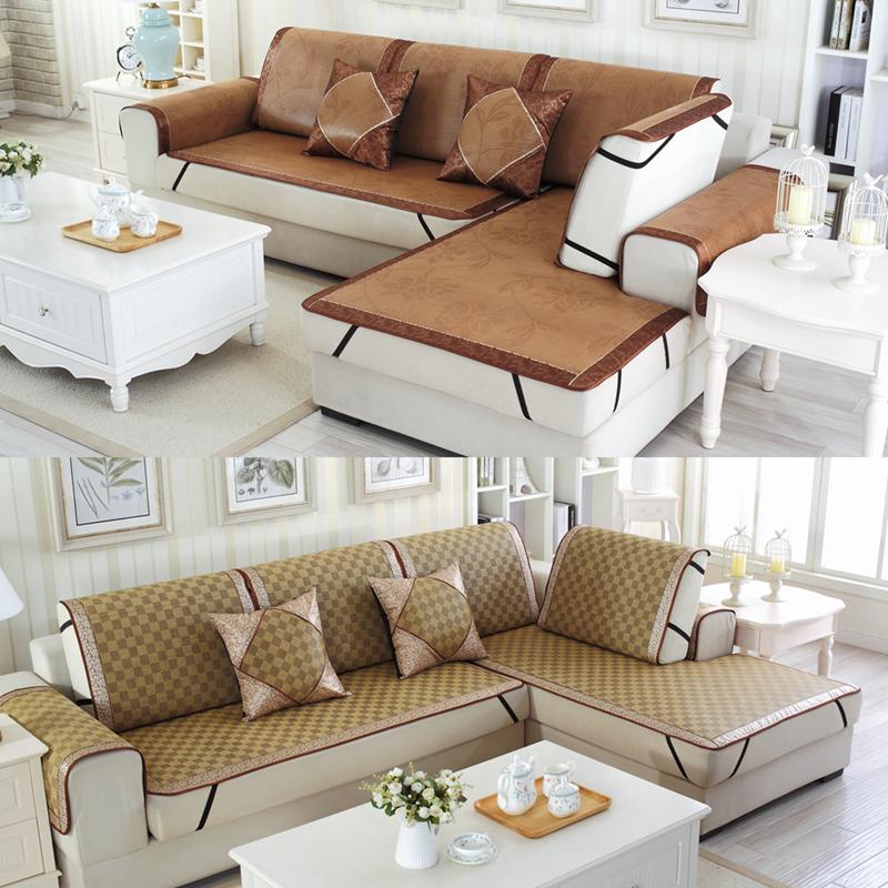 藤席冰丝垫凉席坐垫防滑布艺组合简约现代客厅万能套刺绣夏季沙发