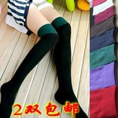 Spring and autumn ladies cotton splicing in the long tube stockings high stockings boots stockings two-color over the knee cotton socks batch
