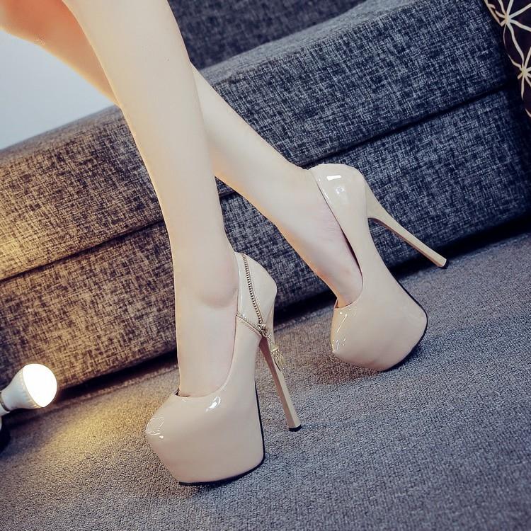 超高跟单鞋夜店性感细跟女鞋16cm防水台鱼嘴鞋漆皮恨天高高跟鞋