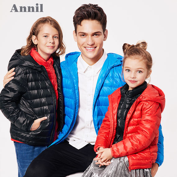 Annai children's clothing boys and girls light short short down jacket winter neutral parent-child wear hooded jacket AM5900