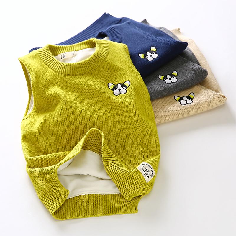 加厚针织衫马甲儿童背心冬季外穿2017新品女童男童加绒毛衣马夹
