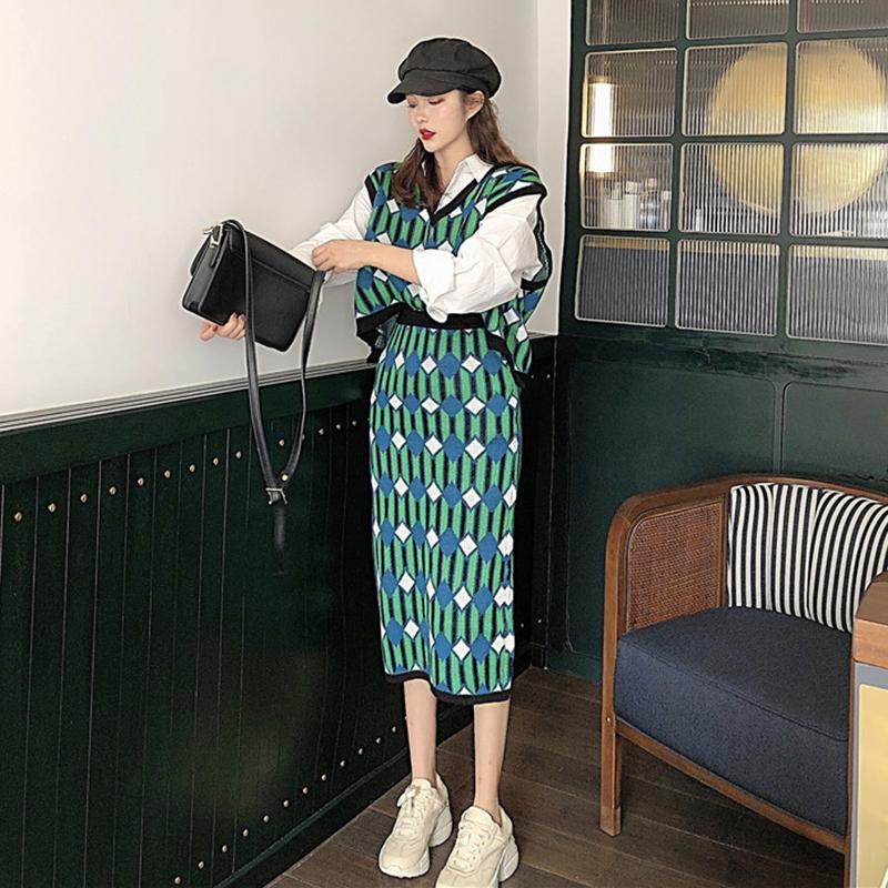秋季女2018复古几何针织重工无袖针织衫背心+马甲半身裙时尚套装