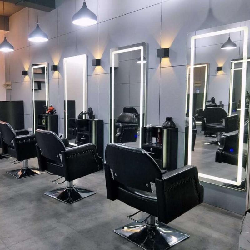 潮店欧式美容美发镜台LED灯镜带灯理发镜台美发廊理发店网红镜子