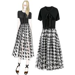 高端定制欧美精品女装夏季新款圆领蝴蝶结短袖针织拼真丝连衣裙