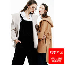 White double-faced cashmere coat female short hooded 2018 spring new camel double-sided tweezers slim short coat